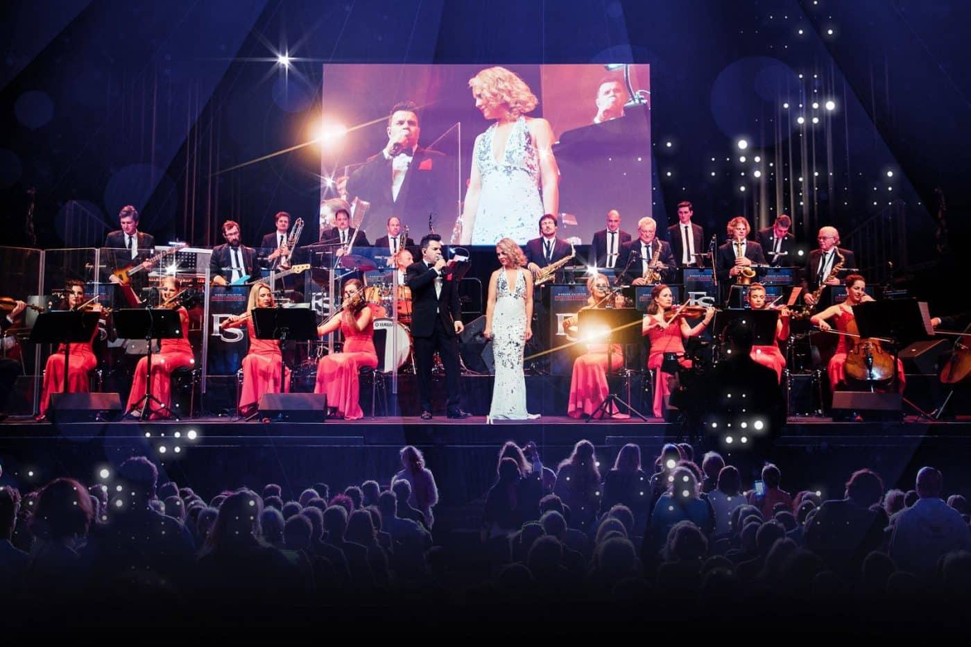 Die Eventband STEINBACH zusammen mit Streichern und Gesangssolisten beim 50. Gildenball im Festspielhaus in Bregenz.