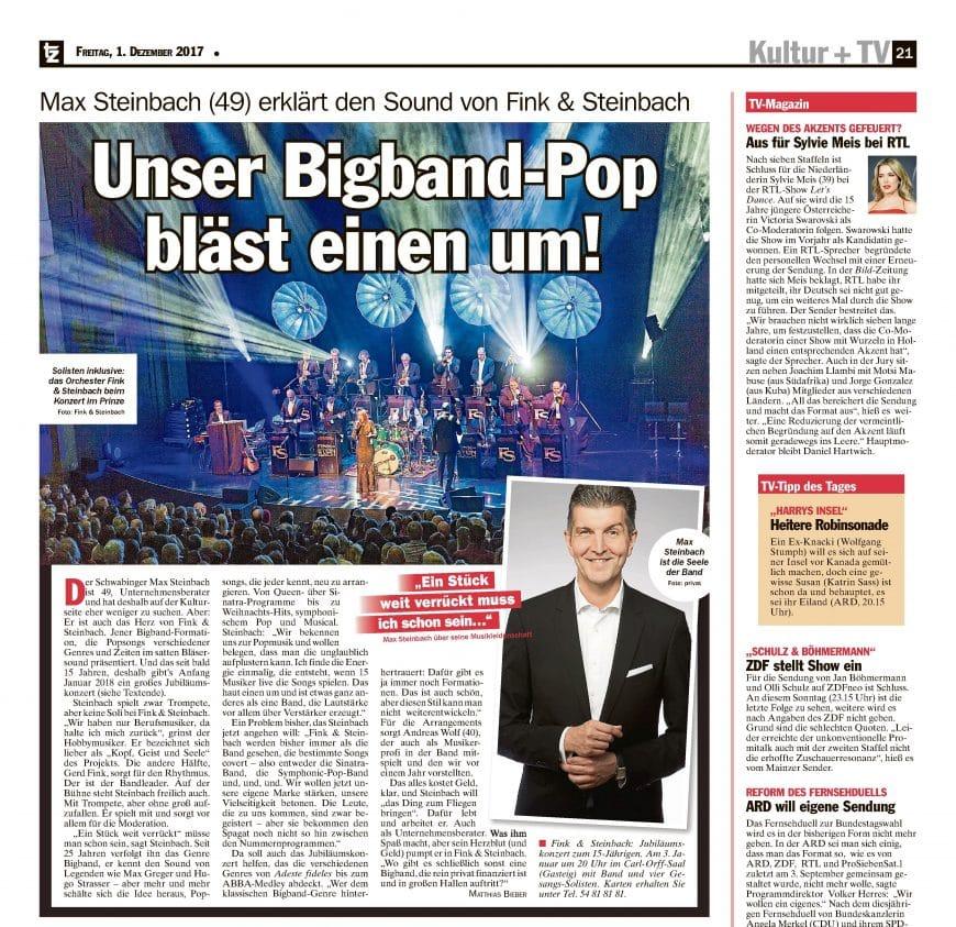 """""""Unser Bigband-Pop bläst einen um!"""" – Artikel zum Jubiläumskonzert der Bigband Fink & Steinbach in der tz vom 1. Dezember 2017"""