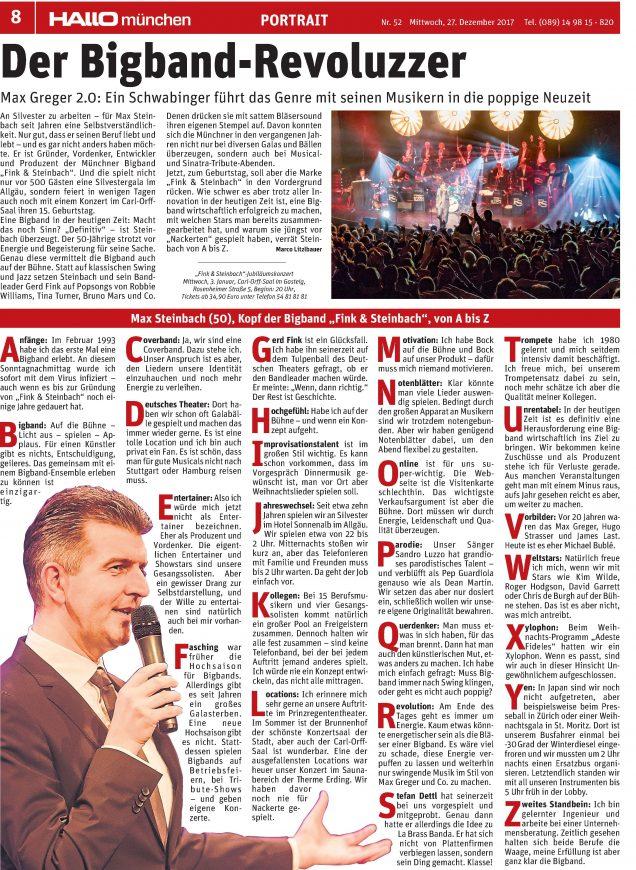 Big Band A bis Z: Die Bigband-Revoluzzer – HALLO München erichtet über das Jubiläumskonzert der Bigband Fink & Steinbach