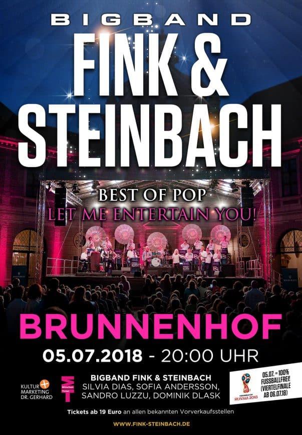 Plakat für Konzert Bigband Steinbach im Brunnenhof München